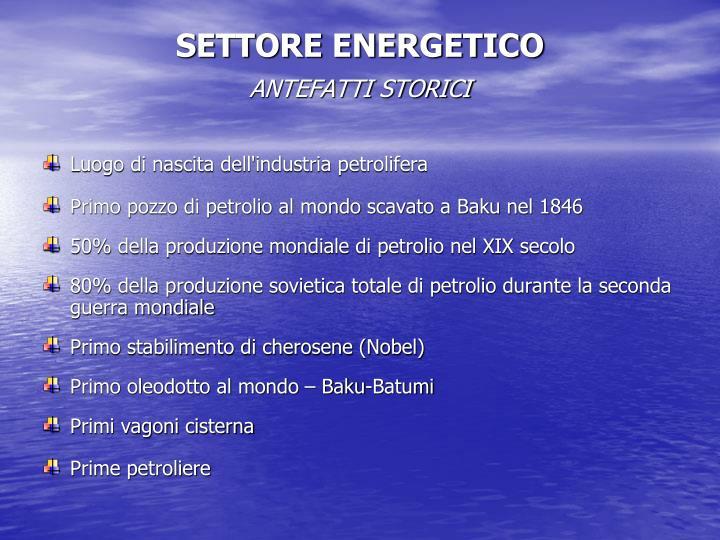 SETTORE ENERGETICO