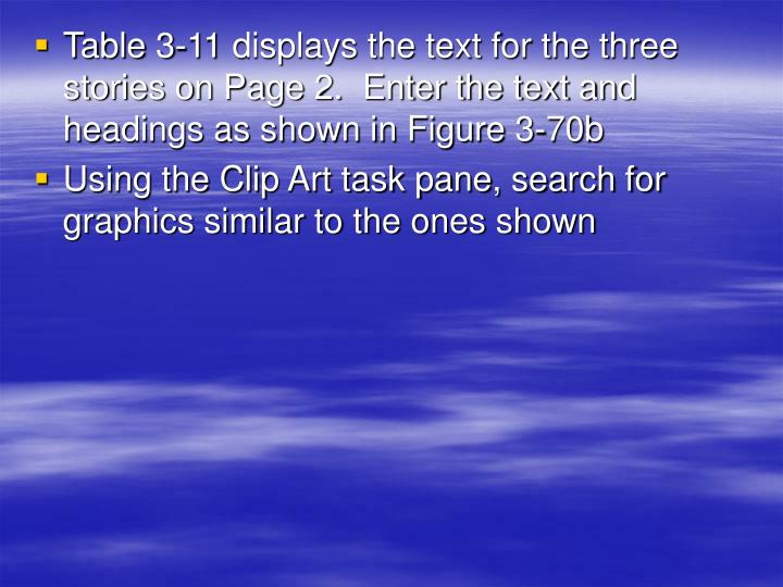 Table 3-11 displays the text for the three stories on Page 2.  Enter the text and headings as shown in Figure 3-70b