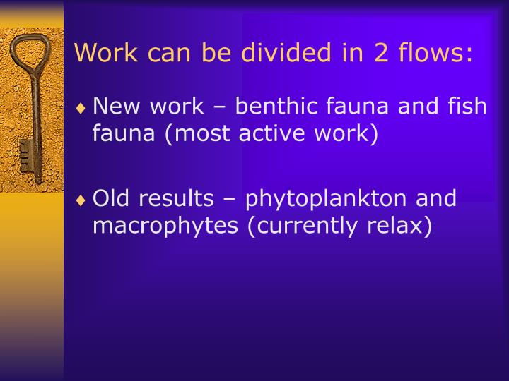 Work can be divided in 2 flows:
