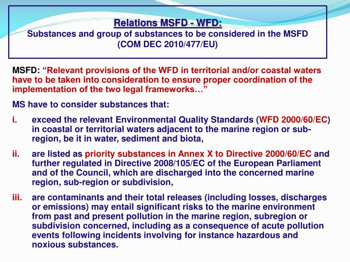 Relations MSFD - WFD: