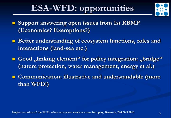ESA-WFD: opportunities