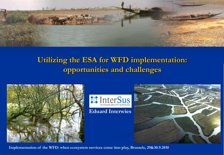 Utilizing the ESA for WFD implementation: opportunities and challenges