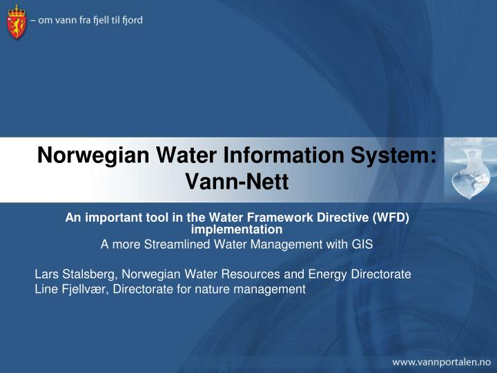 Norwegian water information system vann nett