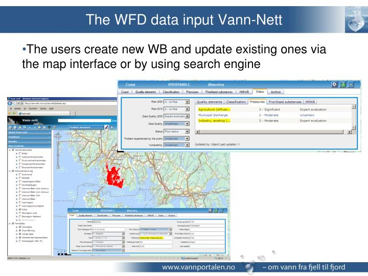 The WFD data input Vann-Nett