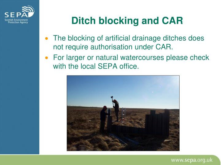 Ditch blocking and CAR
