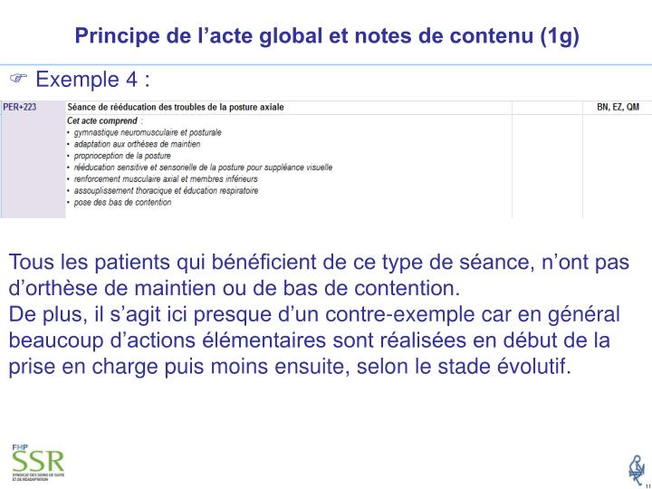 Principe de l'acte global et notes de contenu (1g)