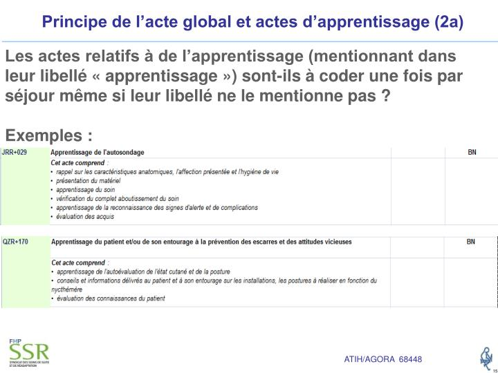 Principe de l'acte global et actes d'apprentissage (2a)