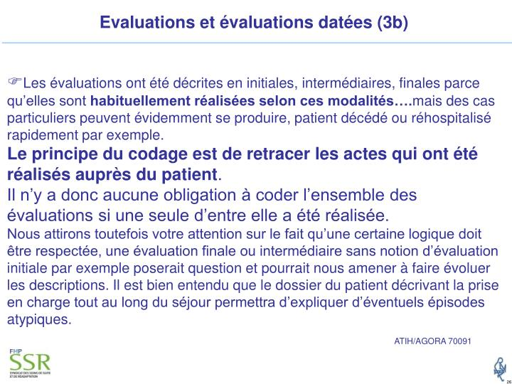 Evaluations et évaluations datées (3b)