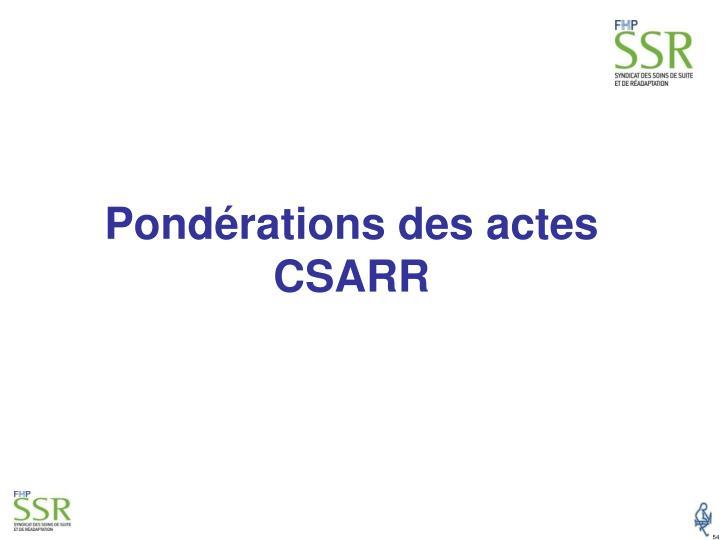 Pondérations des actes CSARR