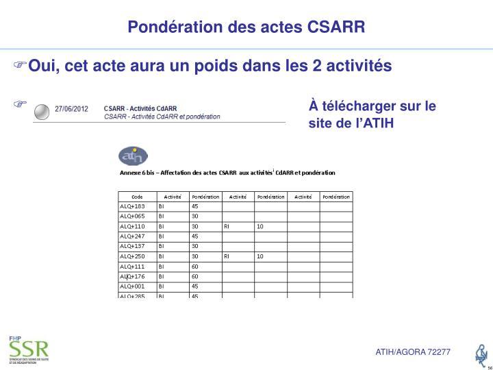 Pondération des actes CSARR