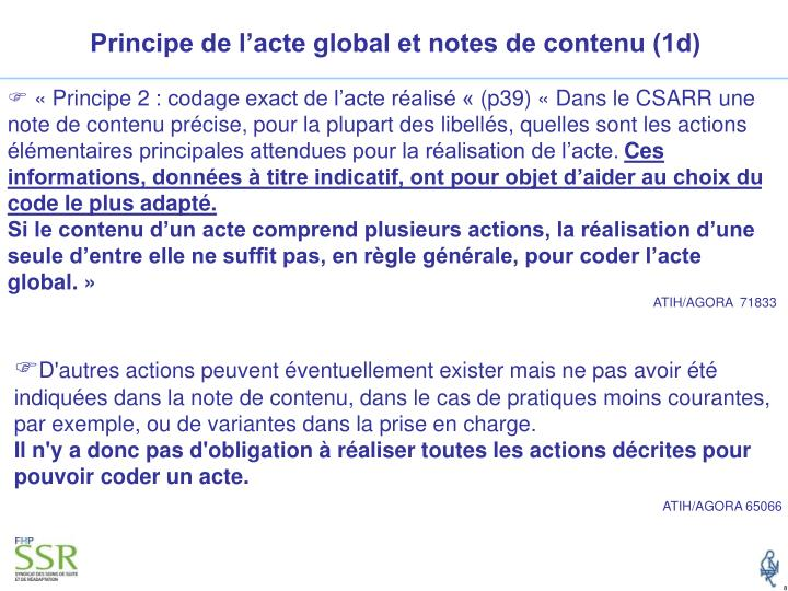 Principe de l'acte global et notes de contenu (1d)