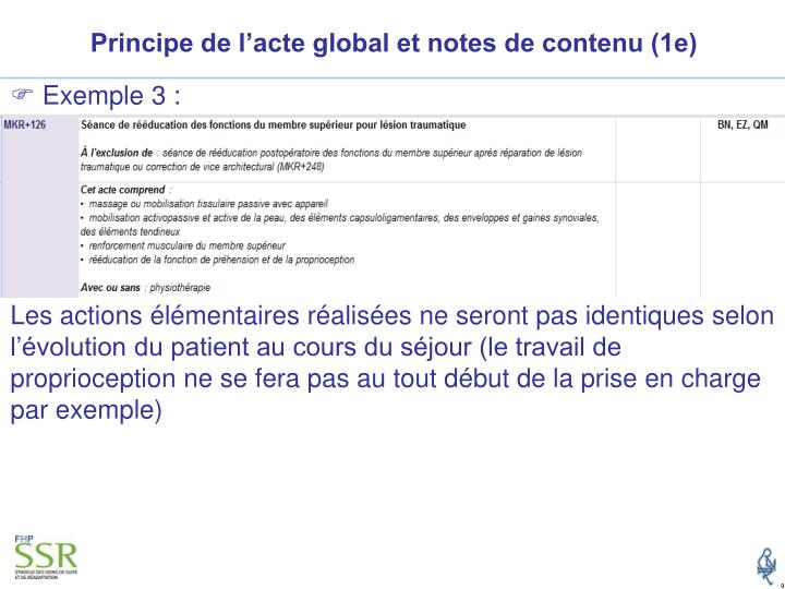 Principe de l'acte global et notes de contenu (1e)