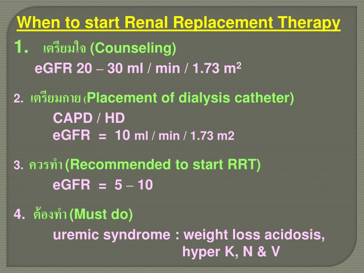 When to start Renal Replacement Therapy