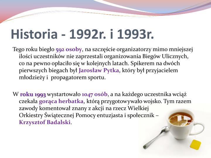Historia - 1992r. i 1993r.
