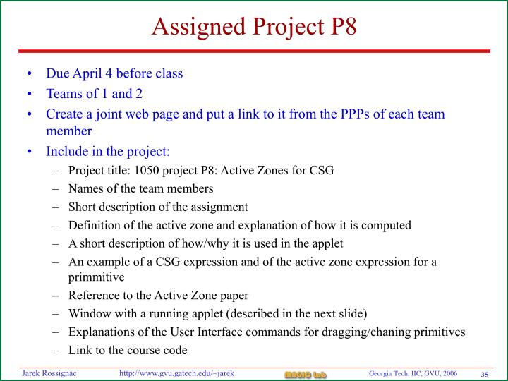 Assigned Project P8