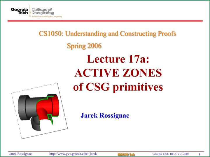 Lecture 17a active zones of csg primitives
