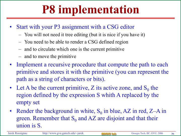 P8 implementation