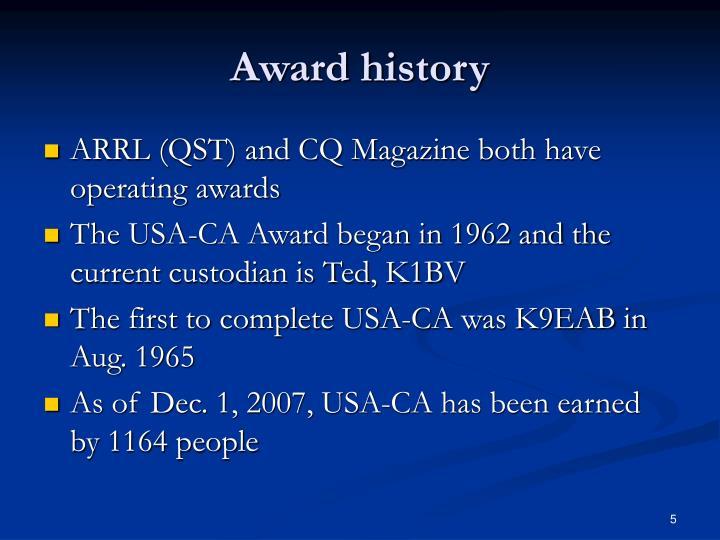 Award history