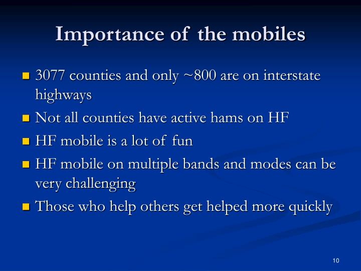Importance of the mobiles