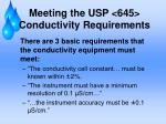 meeting the usp 645 conductivity requirements