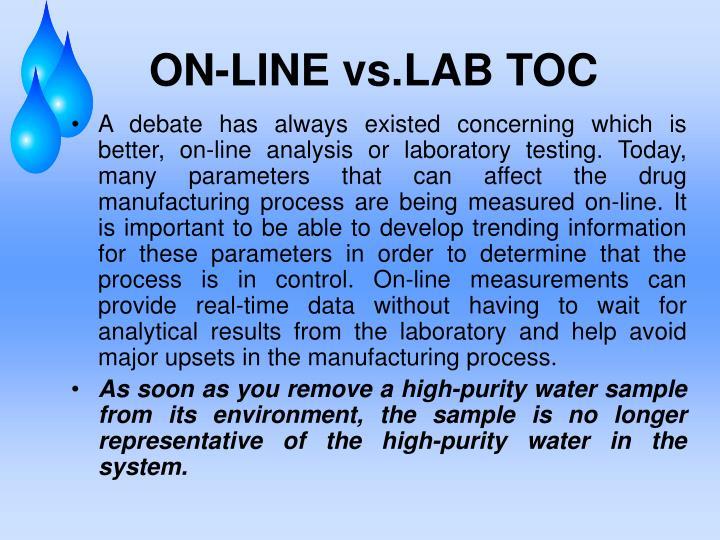 ON-LINE vs.LAB TOC