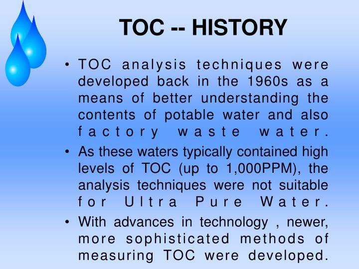 TOC -- HISTORY
