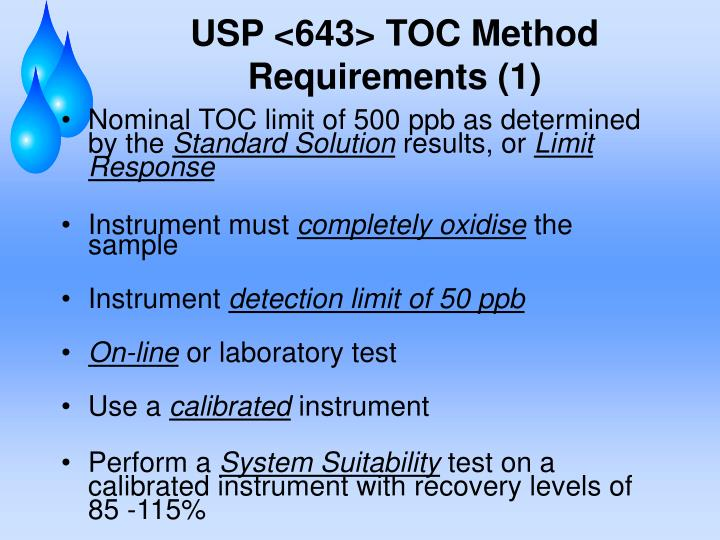USP <643> TOC Method Requirements (1)