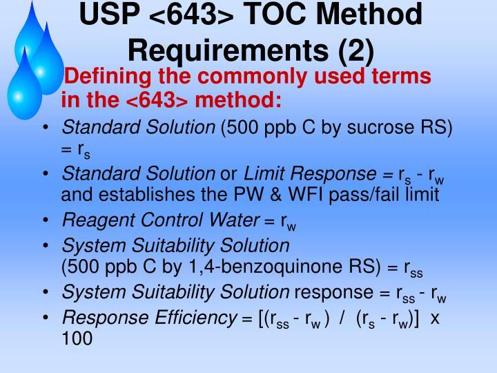 USP <643> TOC Method Requirements (2)