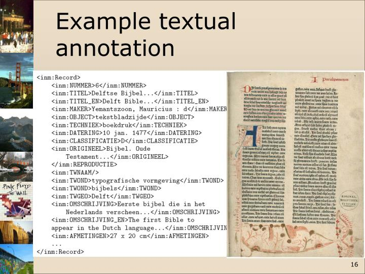 Example textual annotation