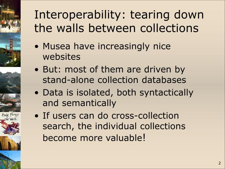 Interoperability: tearing down the walls between collections