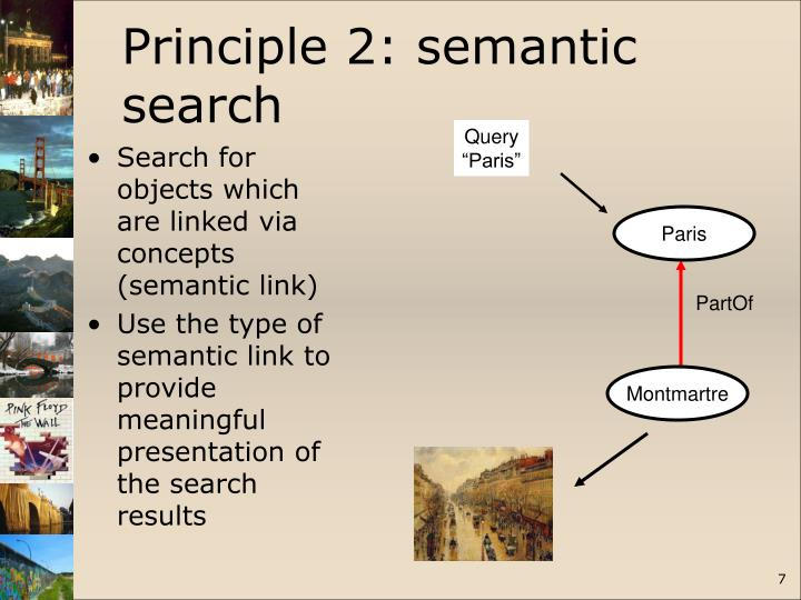 Search for objects which are linked via concepts (semantic link)
