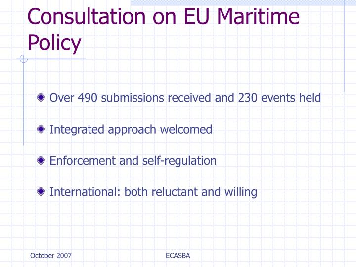 Consultation on EU Maritime Policy