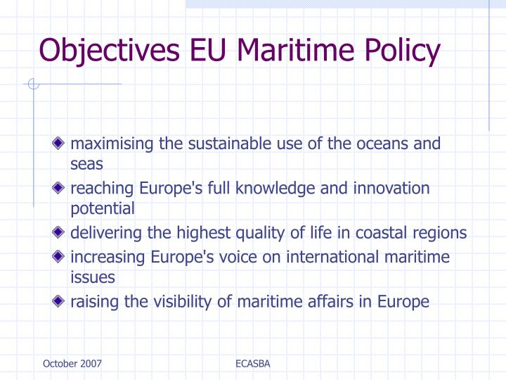 Objectives EU Maritime Policy