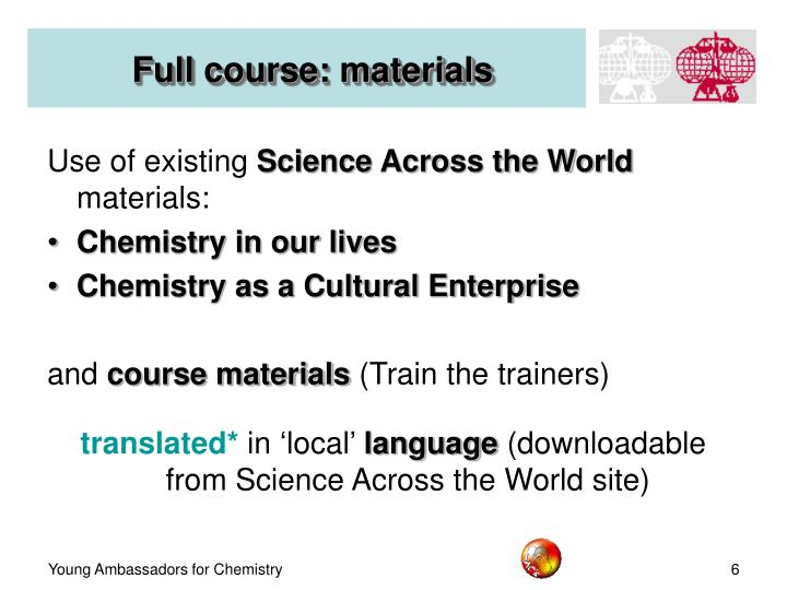 Full course: materials