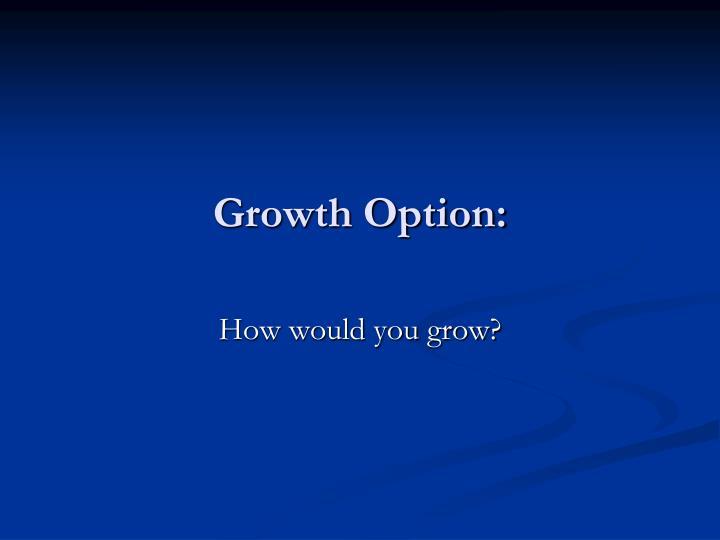 Growth Option: