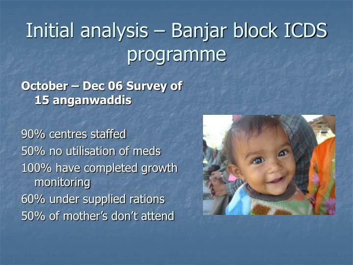 Initial analysis – Banjar block ICDS programme