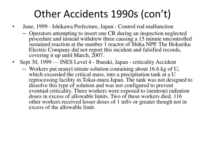 Other Accidents 1990s (con't)