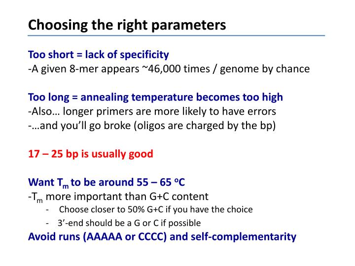 Choosing the right parameters