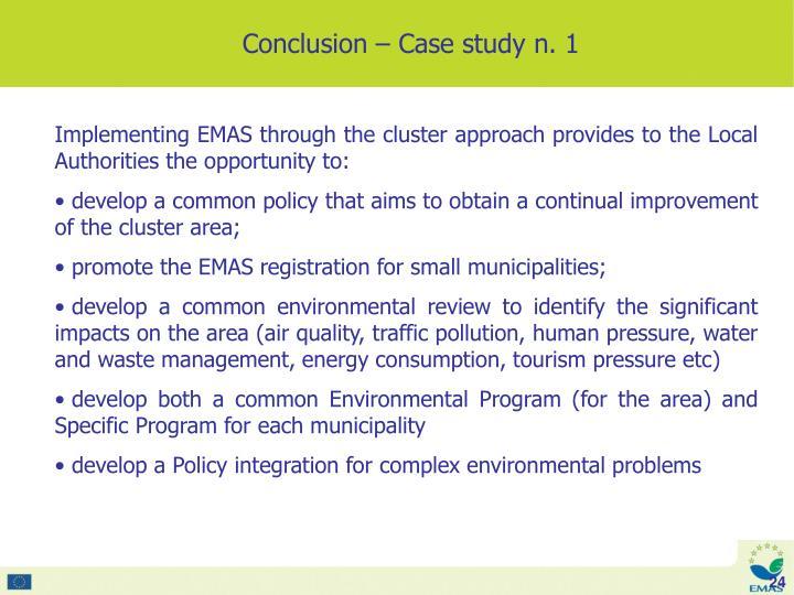 Conclusion – Case study n. 1