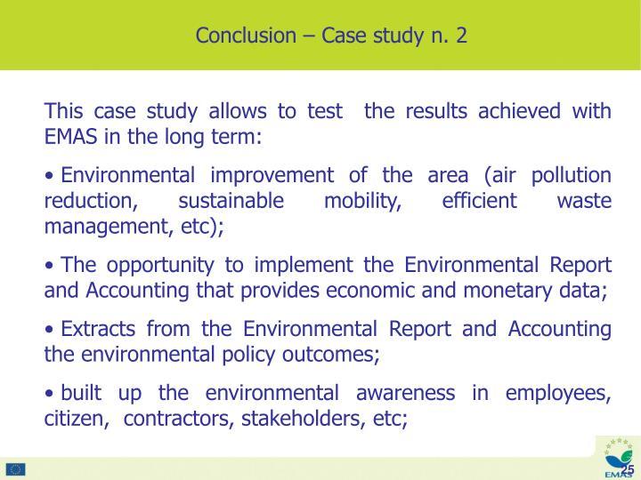 Conclusion – Case study n. 2