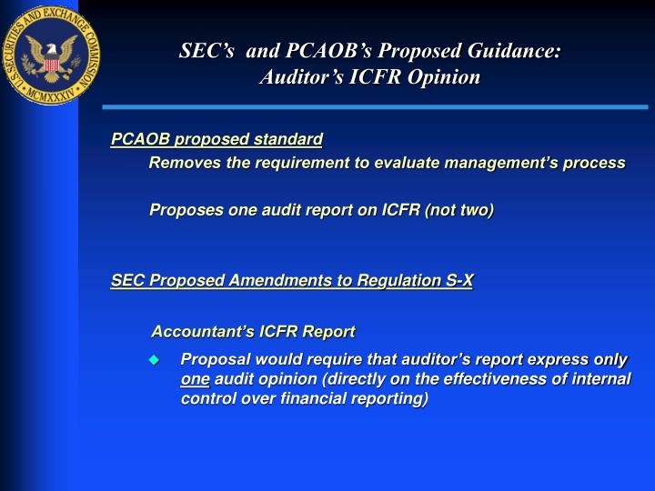 SEC's  and PCAOB's Proposed Guidance: