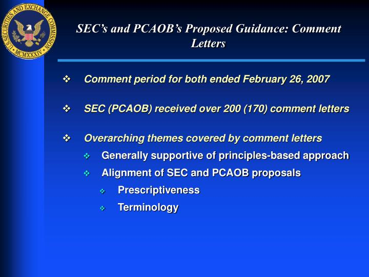 SEC's and PCAOB's Proposed Guidance: Comment Letters