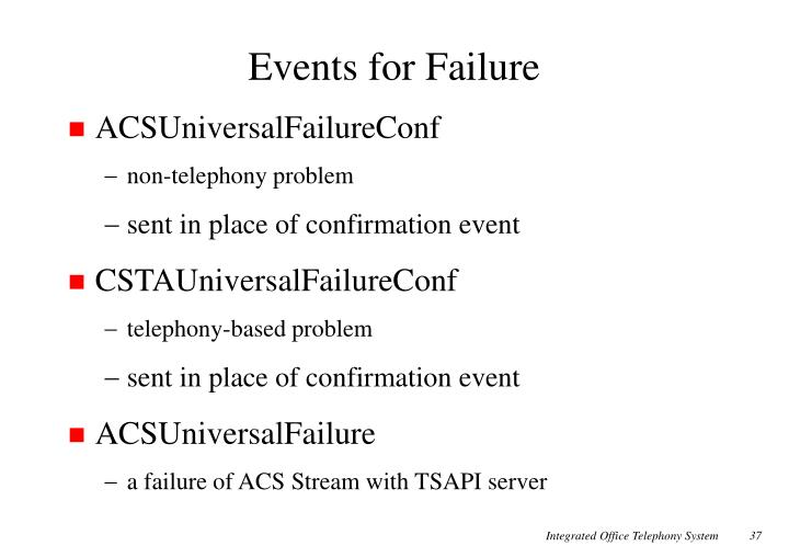 Events for Failure