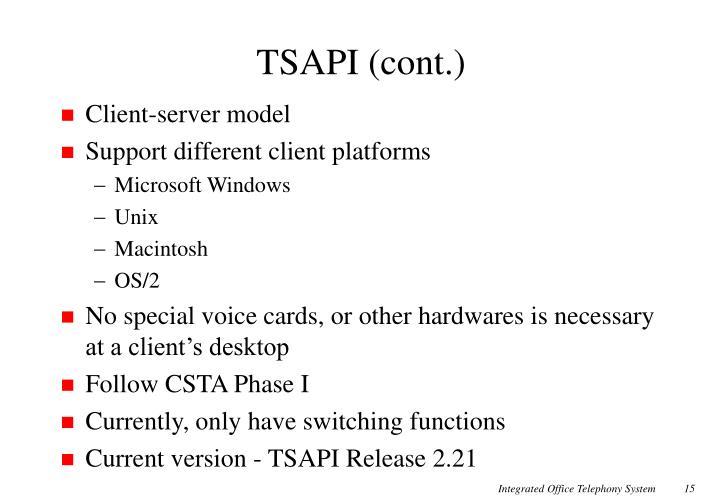 TSAPI (cont.)