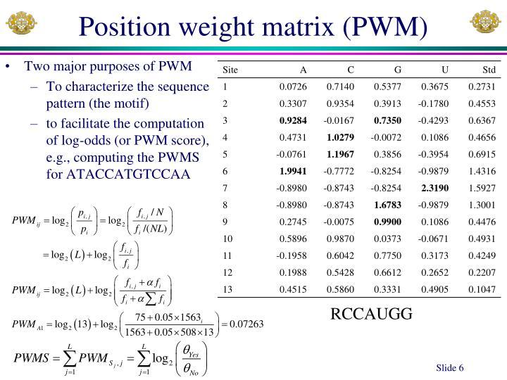 Position weight matrix (PWM)