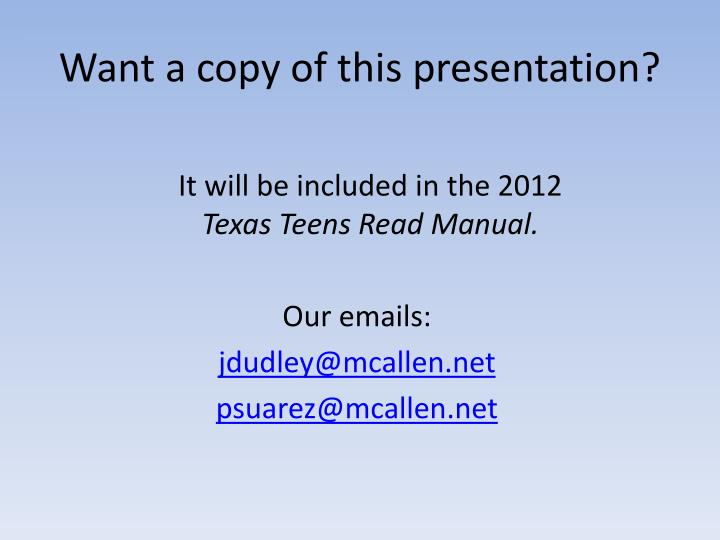 Want a copy of this presentation?