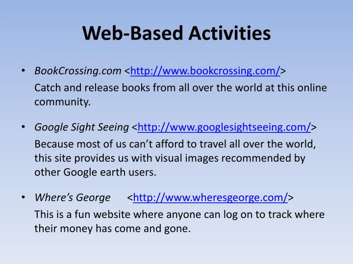 Web-Based Activities