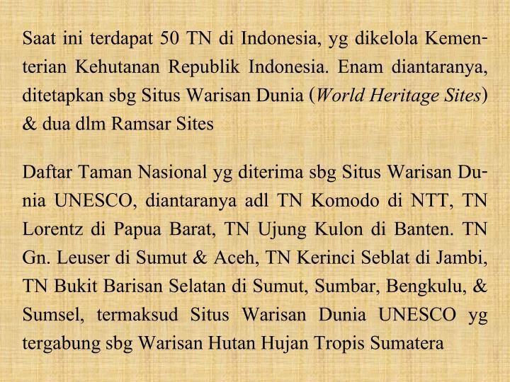Saat ini terdapat 50 TN di Indonesia, yg dikelola Kemen-terian Kehutanan Republik Indonesia. Enam diantaranya, ditetapkan sbg Situs Warisan Dunia (