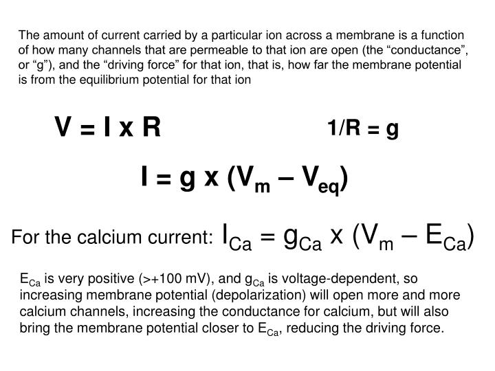 The amount of current carried by a particular ion across a membrane is a function