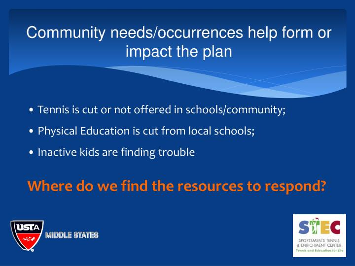 Community needs/occurrences help form or impact the plan